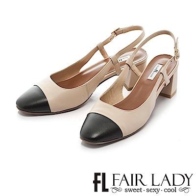 Fair Lady 優雅小姐Miss Elegant 復古雙色皮革粗跟涼鞋 米