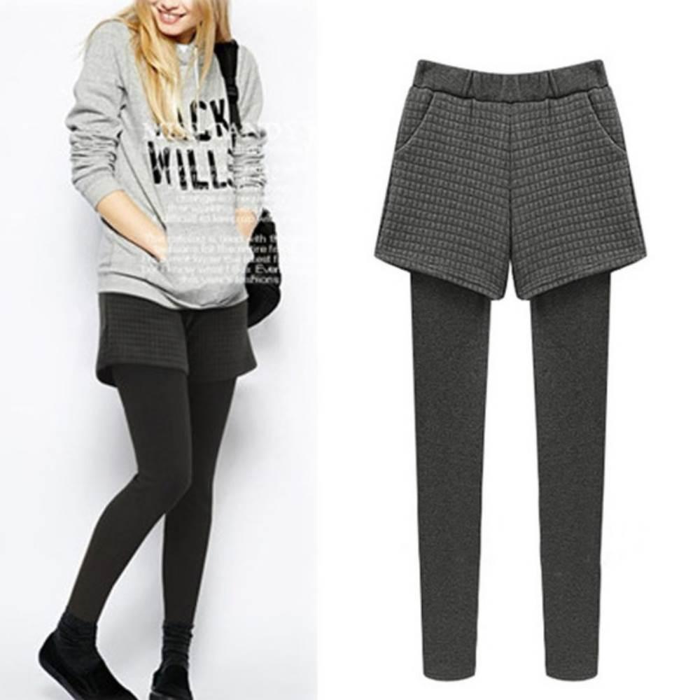 中大尺碼 菱格布短褲內加絨厚棉拼接內搭褲XL~4L-Ballet-Dolly