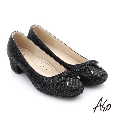 A.S.O 個性美型 絨面羊皮立體蝴蝶結真皮質感中跟鞋 黑色