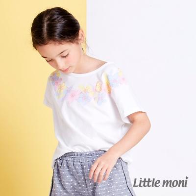Little moni 花漾女孩暈染水印棉T 白色