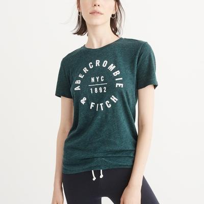A&F 經典印刷文字短袖T恤(女)-藍綠色 AF Abercrombie
