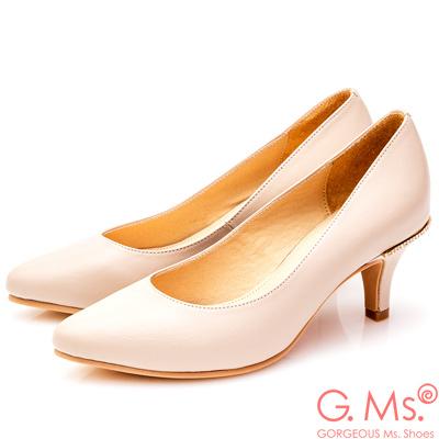 G.Ms. MIT系列-牛皮尖頭後跟鑽飾靜音高跟鞋-粉杏