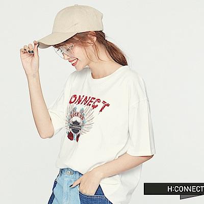 H:CONNECT 韓國品牌 女裝 - 搖滾個性印花 T-Shirt-白