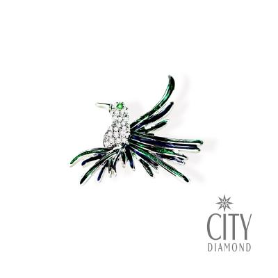 City Diamond引雅【東京Yuki系列】蜂鳥展翅水鑽胸針/領帶/別針/徽章
