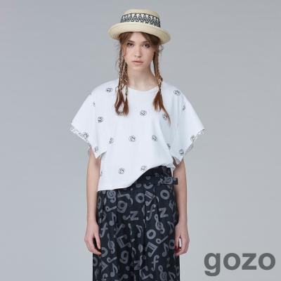 gozo另類搖滾式浪漫寬袖上衣(三色)-動態show