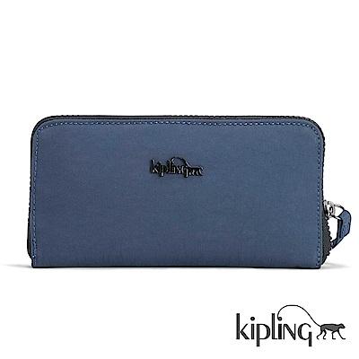 Kipling 長夾 緞面藍素面-小