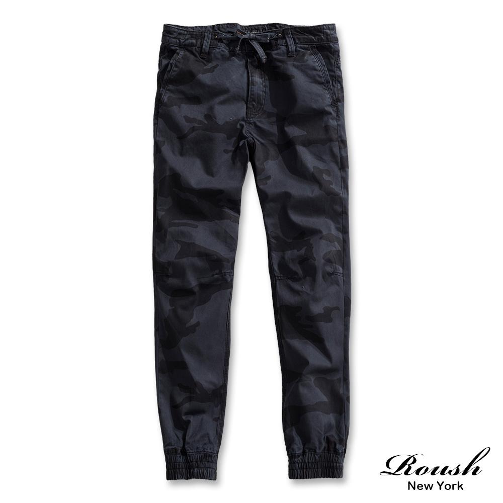 ROUSH (迷彩)高磅數美式抽繩水洗縮口長褲 (2色)