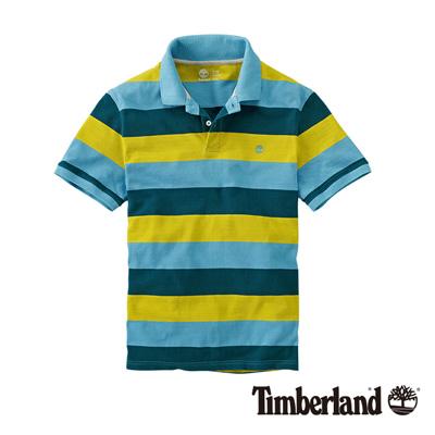 Timberland-男款藍黃色粗條紋短袖POLO