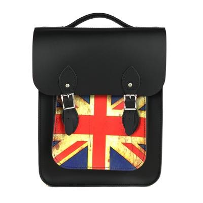 The Leather Satchel 英國原裝手工牛皮經典後揹包 手提包 復古國旗