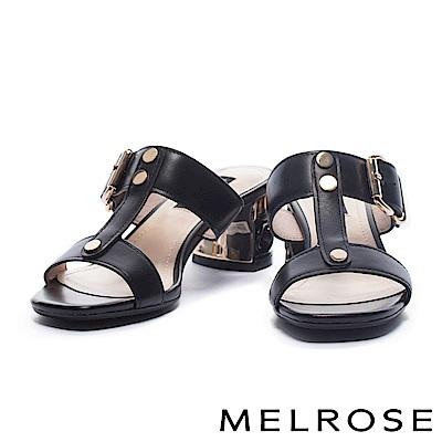 拖鞋 MELROSE 內斂奢華金屬雙字帶牛皮高跟拖鞋-黑