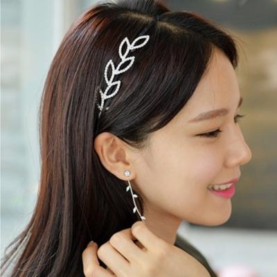 梨花HaNA-無耳洞韓國葉片滴露水晶長耳環夾式