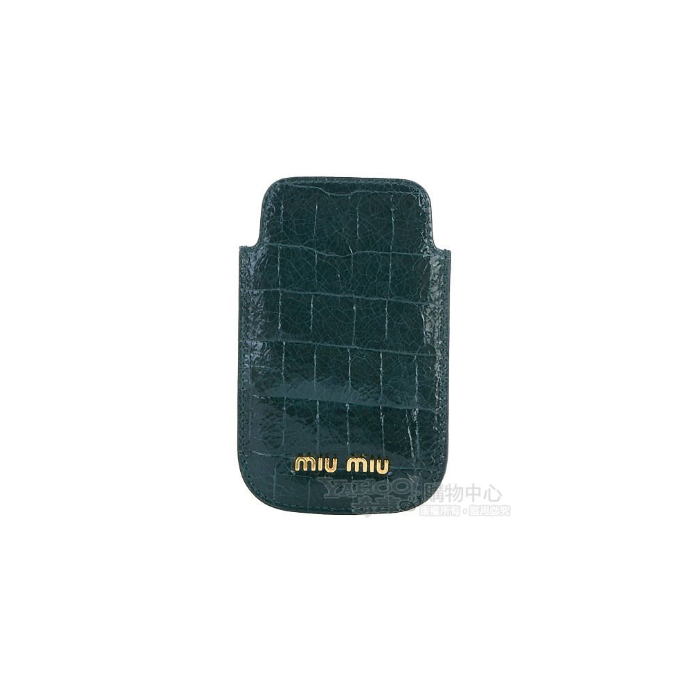miu miu 深綠色漆皮壓鱷紋iPhone保護套