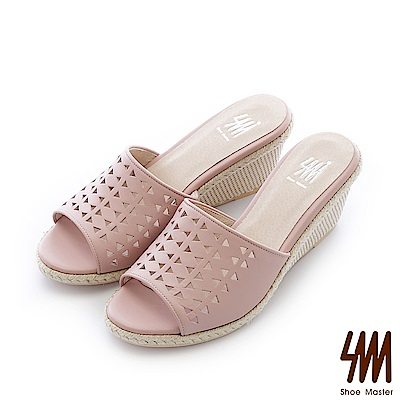 SM-台灣全真皮-楔型紋鏤空麻繩一字中高楔型拖鞋-粉色