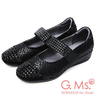 G.Ms. 燙鑽拼接金屬蛇紋羊皮瑪莉珍坡跟鞋-黑色