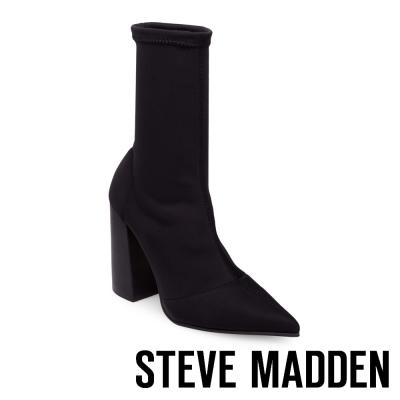 STEVE MADDEN-LOMBARD- BLACK 尖頭粗跟短筒套靴-黑色