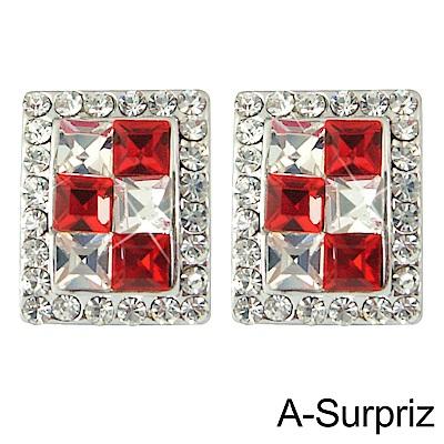 A-Surpriz 芳心T鑽耳環(紅白鑽)