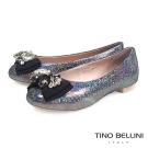 Tino Bellini 金屬光澤豪華鑽飾平底娃娃鞋_金屬灰