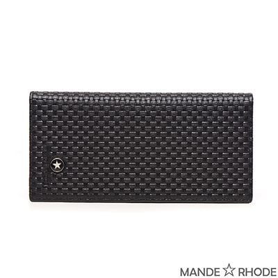 MANDE RHODE-貝加莫x編織皮紋紳士二折真皮長夾(86346-C)