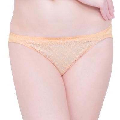 思薇爾 妦吻系列M-XL蕾絲低腰三角褲(奶金膚)