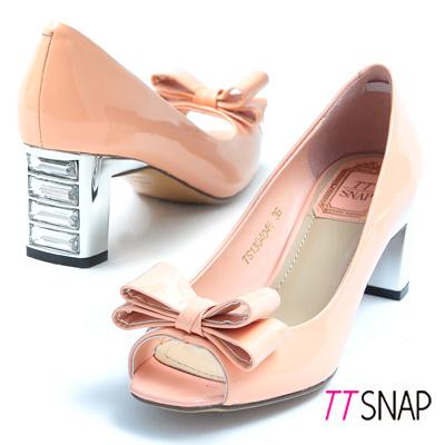 TTSNAP-全真皮水鑽魚口高跟鞋-蝴蝶結婚宴派對款-貝殼粉