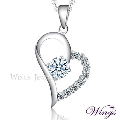 Wings 鍾愛 八心八箭方晶鋯石 精鍍白K金項鍊