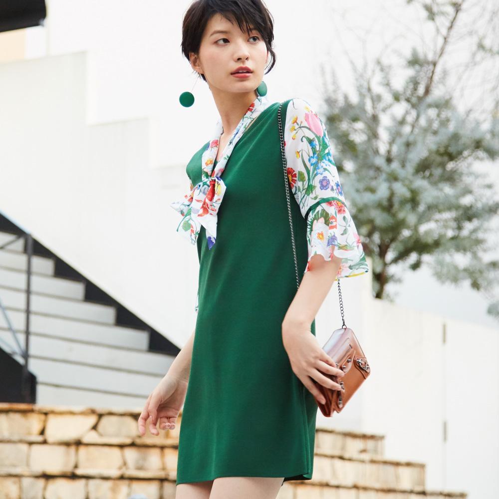 SO NICE繽紛印花領巾針織洋裝