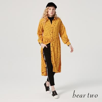 beartwo 星星印花長版開襟襯衫式洋裝(共二色)-動態show