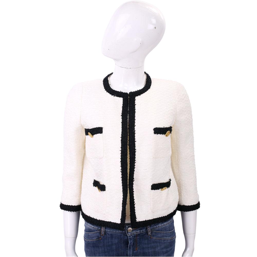 EDWARD ACHOUR PARIS 撞色短版毛呢外套(白色)