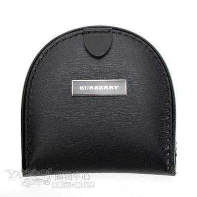 BURBERRY 日系黑標素面掀蓋式零錢包-黑