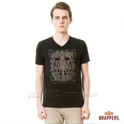 BRAPPERS 男款印花貼片短袖上衣-黑色