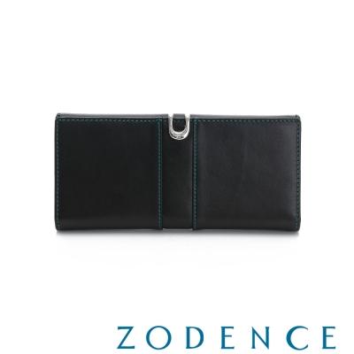ZODENCE-西班牙牛皮撞色推扣長夾-黑