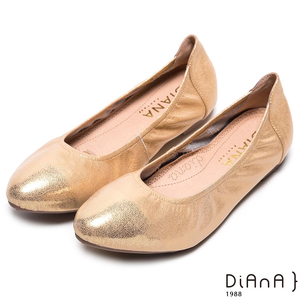 DIANA 漫步雲端焦糖美人款--超軟Q舒適百搭時尚娃娃鞋-金