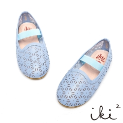 iki2童鞋-質感雕花鏤空鬆緊娃娃鞋-寧靜藍