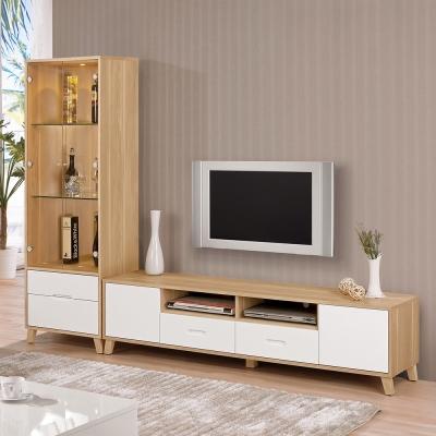 Bernice-羅曼尼8尺L型電視櫃組合-242x40x181cm