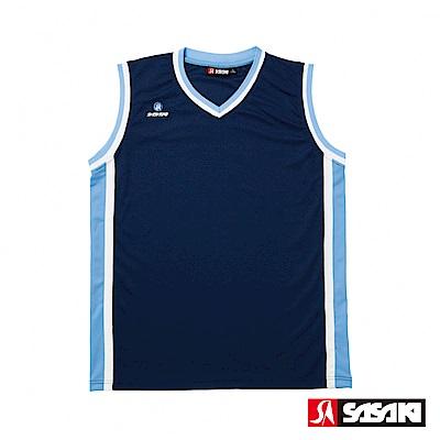 SASAKI 雙面穿長效性吸排V領籃球背心-男-丈青/北卡藍(寬肩版)