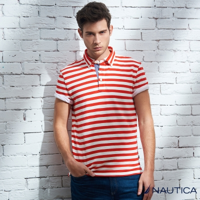 Nautica 夏季活力條紋短袖POLO衫-紅