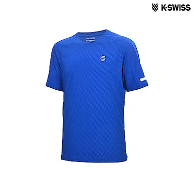 K-Swiss Poly Tech W/Mesh Tee運動排汗T恤-男-藍