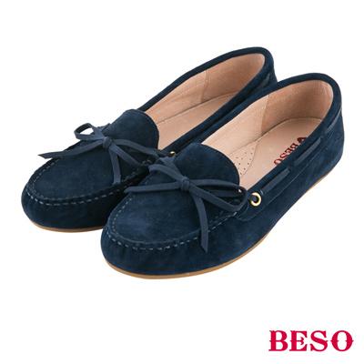 BESO繽紛奇幻 經典都會蝴蝶結全真皮莫卡辛鞋~藍