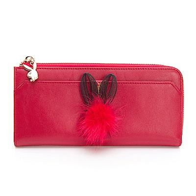 PLAYBOY- L型拉鍊長夾 跳躍毛毛兔系列-復古俏皮紅