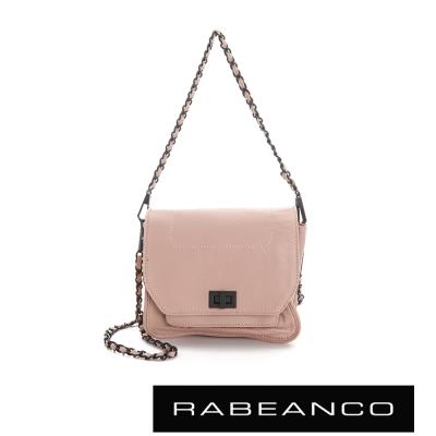 RABEANCO 迷時尚牛皮系列鍊帶雙層轉釦方包(小) - 奶粉