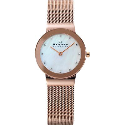 SKAGEN 米蘭帶 晶鑽女錶-珍珠貝x玫塊金/26mm