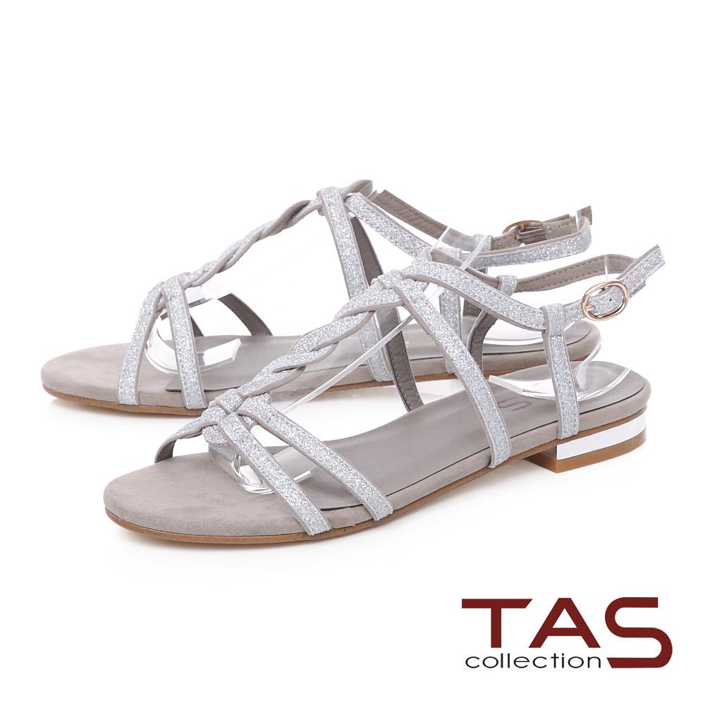 TAS 麻花造型質感T字涼鞋-氣質灰