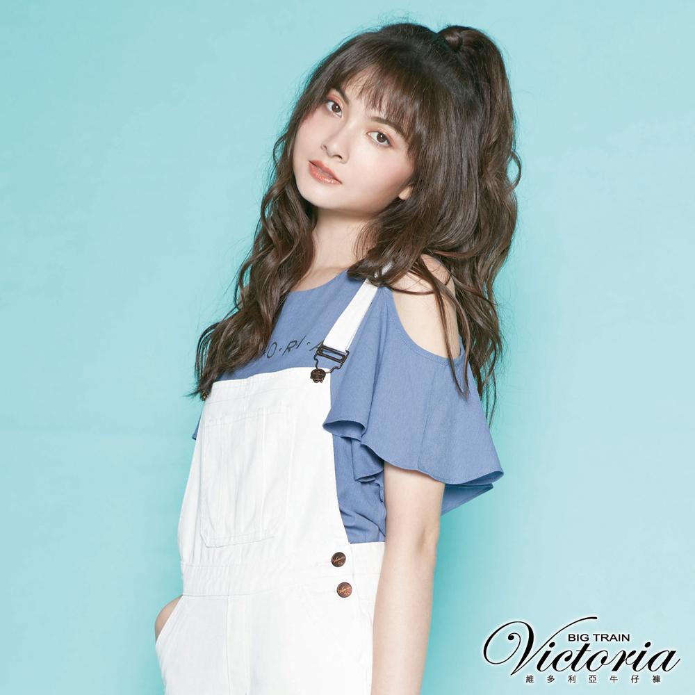Victoria 挖肩LOGO荷葉短袖T-女-灰藍