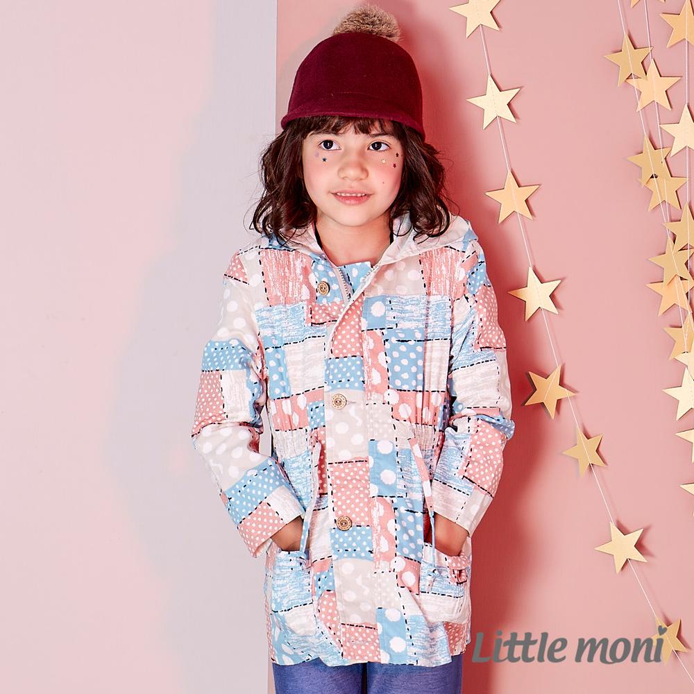 Little moni 時尚印花連帽風衣外套 (共2色)