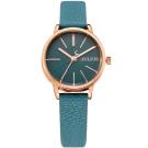 JULIUS聚利時 香榭大道皮錶帶腕錶-湖水藍/28mm