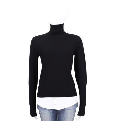 MARELLA 黑色假兩件設計高領針織上衣