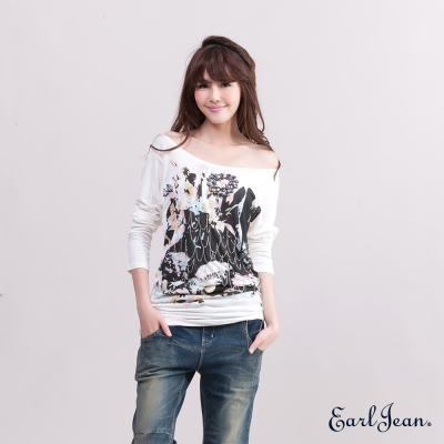 Earl Jean縫鑽寶石印花長版T恤-女