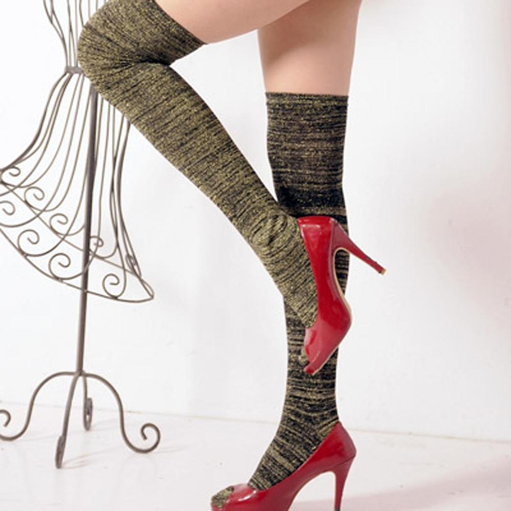 Aimee Toff 閃閃時尚長腿比例膝上襪(金)