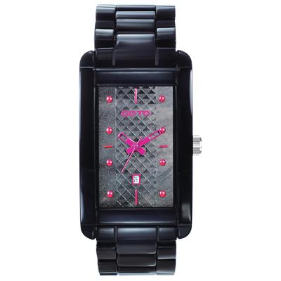 GOTO Unique 陶瓷時尚腕錶-黑x桃/27.5mm