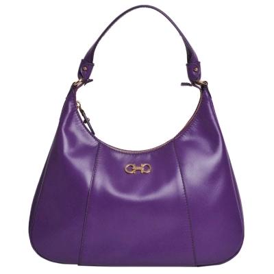 Salvatore Ferragamo Petunia 防刮牛皮肩背包(紫色)